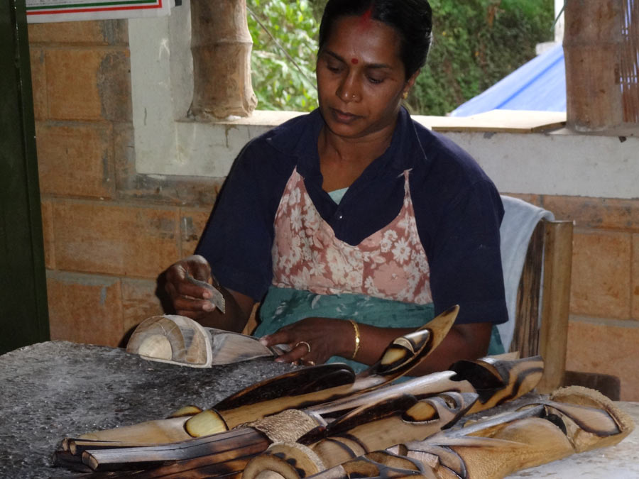 Bamboo craftswoman at work