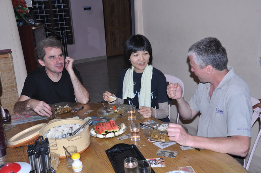Dining at the homestay